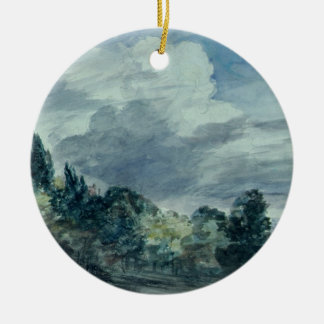 View over a wide landscape with trees in the fore christmas ornament