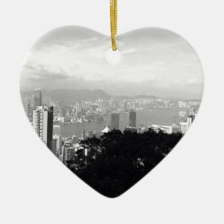 View Over Hong Kong Ceramic Heart Decoration