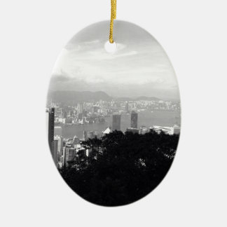 View Over Hong Kong Ceramic Oval Decoration