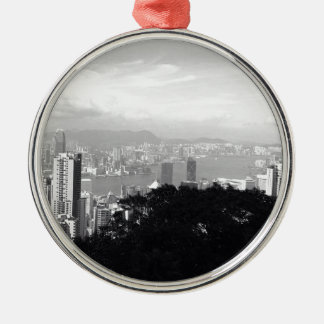 View Over Hong Kong Silver-Colored Round Decoration