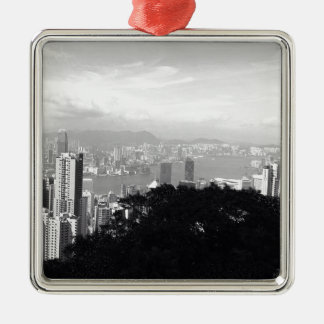 View Over Hong Kong Silver-Colored Square Decoration