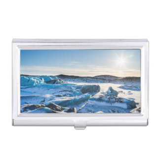 View over the frozen glacial lake business card holder
