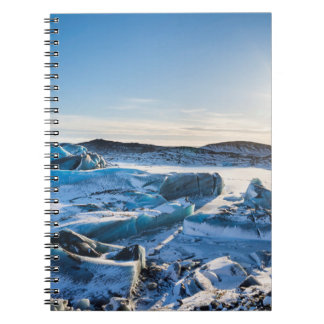 View over the frozen glacial lake notebook