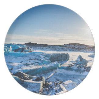 View over the frozen glacial lake plate