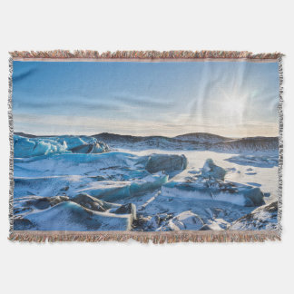 View over the frozen glacial lake throw blanket