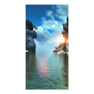 View over the ocean to the rocks with waterfall custom photo card