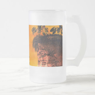 View over the sea with lamp boat in the sunset frosted glass beer mug