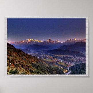 View POKHARA  Nepal   :CRYSTAL Border Poster