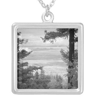 View west from crest of Sandia, Mountains, Silver Plated Necklace