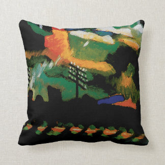 View With Railway and Castle by Kandinsky Cushion