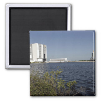 Viewed across the basin, Space Shuttle Atlantis Square Magnet