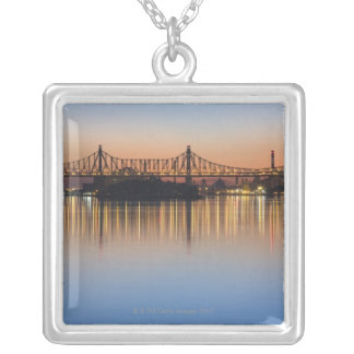 Viewed from Manhattan over the East River. Silver Plated Necklace