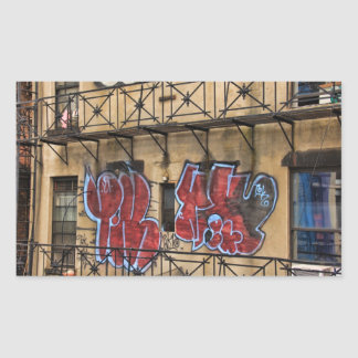 Viewed From the High Line: Graffiti on a Building Rectangular Sticker