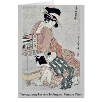 Viewing a peep box show by Kitagawa, Utamaro Ukiyo Note Card