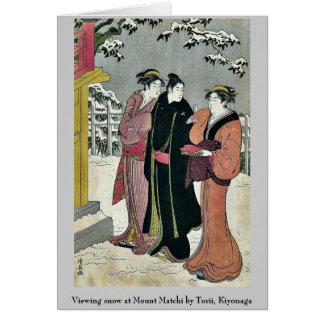 Viewing snow at Mount Matchi by Torii, Kiyonaga Greeting Cards