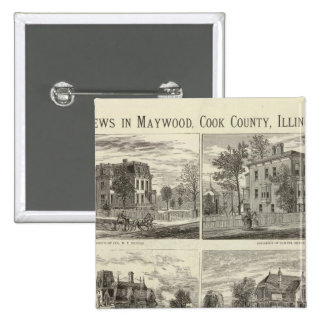 Views in Maywood, Cook County, Illinois 15 Cm Square Badge