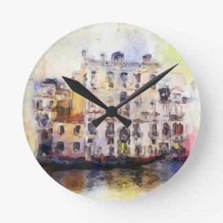 Views od Venice made in artistic watercolor Round Clock