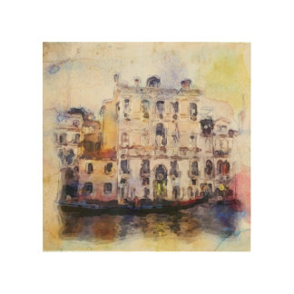 Views od Venice made in artistic watercolor Wood Canvas