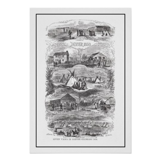 Views of Denver 1859 Poster
