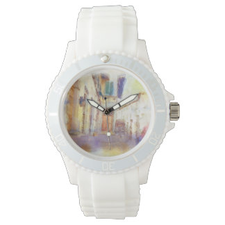 Views of Florence made in artistic watercolor Watch