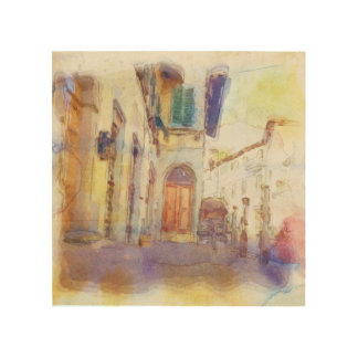 Views of Florence made in artistic watercolor Wood Canvas