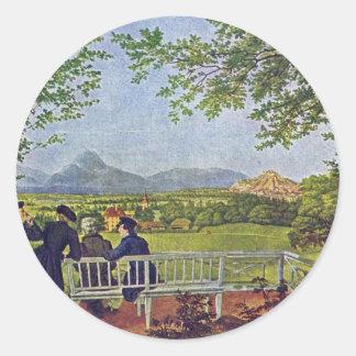 Views Of Salzburg By Julius Schnorr Von Carolsfeld Round Sticker
