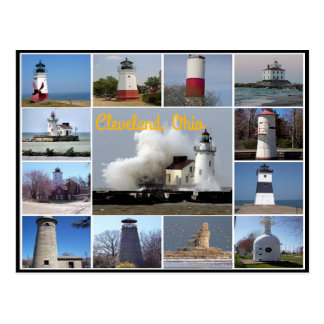 views of the Lighthouses on Lake Erie collage Postcard