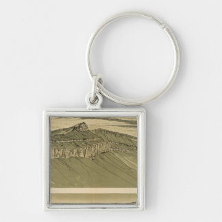 Views of the Marble Canyon Platform Silver-Colored Square Key Ring