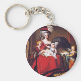 Vigée-Lebrun - Marie Antoinette and her children Basic Round Button Key Ring