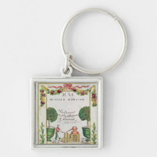 Vignette of 'Eau de Fleur d'Orange' Silver-Colored Square Key Ring
