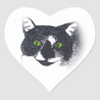Vignette of Tuxedo Cat Face Stickers