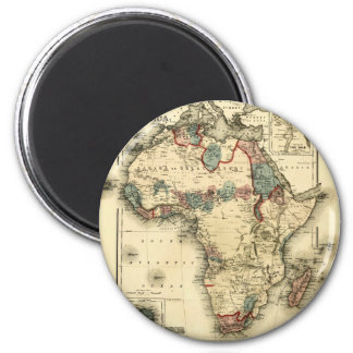 Viintage 1874 Map of Africa  Antique African Print 6 Cm Round Magnet