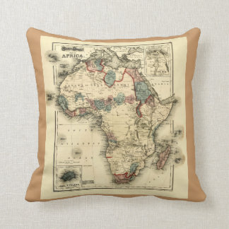 Viintage 1874 Map of Africa  Antique African Print Throw Pillow
