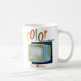 Viintage Kitsch Color TV 60's Ad Basic White Mug