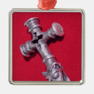Viking amulet in the shape of a cross Silver-Colored square decoration