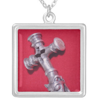 Viking amulet in the shape of a cross silver plated necklace