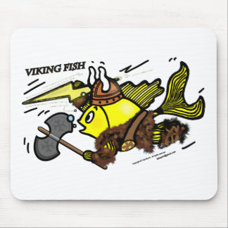 Viking Fish funny cute sparky comics medieval Mouse Pad