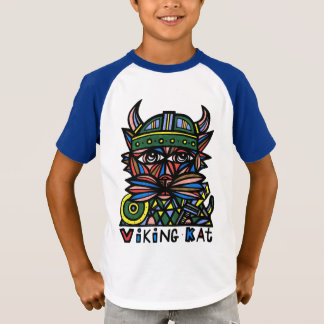 """Viking Kat"" Boys' Short Sleeve Raglan T-Shirt"