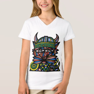 """Viking Kat"" Girls' V-Neck T-Shirt"