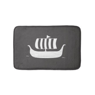 Viking longboat ship with custom background color bath mat