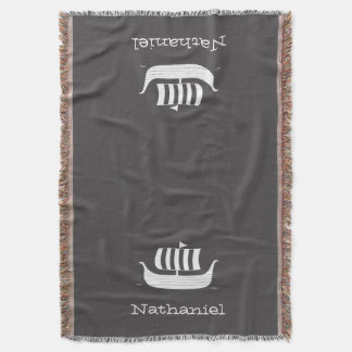 Viking longboat ship with custom background color throw blanket
