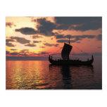 Viking Longship at Sunset Post Card