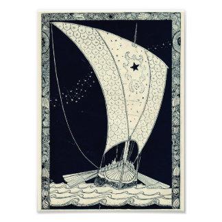 Viking Longship Sailing at Night Photo Art