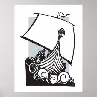 Viking Longship Sailing  B Poster