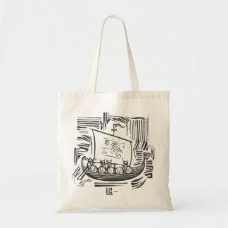 Viking LongShip Woodcut Bags