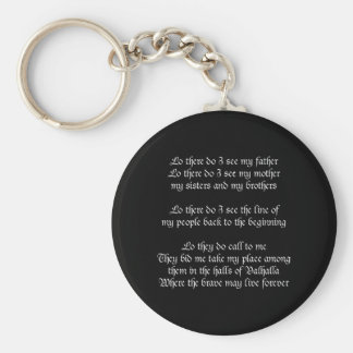 Viking Prayer Black Basic Round Button Key Ring