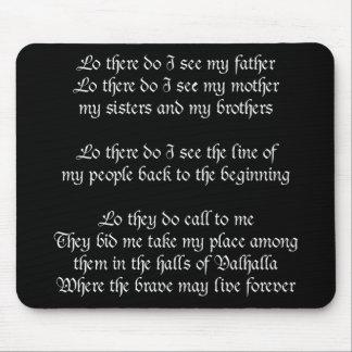 Viking Prayer Black Mouse Mat