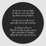 Viking Prayer Black Round Sticker