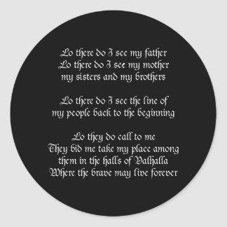Viking Prayer Black Round Sticker