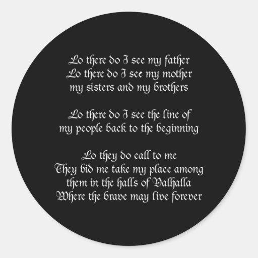 Viking Prayer Black Sticker